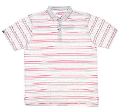 New Mens MATTE GREY Golf Polo Large L White with red/gray stripe MSRP $75