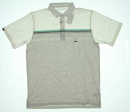 New Mens MATTE GREY Slider Polo Large L White/Grey/Green S-110117 MSRP $79.99