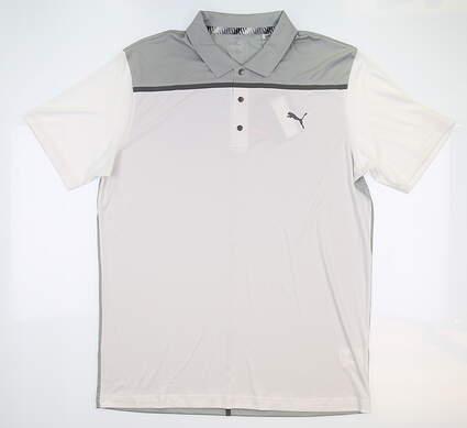 New Mens Puma Golf Polo Medium M White MSRP $70