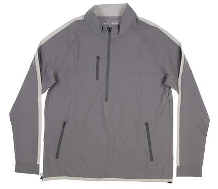 New Mens MATTE GREY 1/2 Zip Pullover Large L Gray/White S-120094 MSRP $99.99