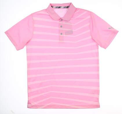 New Mens Puma 3DKNIT Prismatic Polo Medium M Pale Pink Heather Stripe 577400 MSRP $69.99