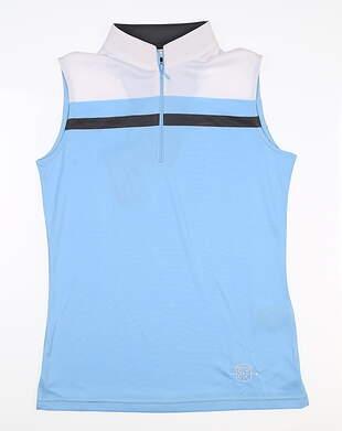 New W/ Logo Womens Footjoy Sleeveless Polo X-Small XS Blue/White 24705 MSRP $79.99