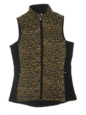 New Womens Straight Down Laurel Vest X-Small XS Black/Leopard MSRP $109.99