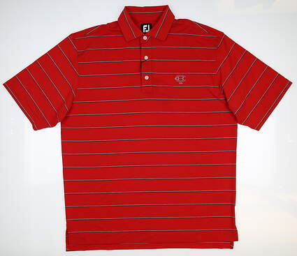 New W/ Logo Mens Footjoy Spun Poly Stripe Self Polo Large L Red 25510 MSRP $77.99