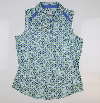 New Womens Greg Norman Fashion 3 Sleeveless Polo Small S Green/Blue Multi G2S8K311 MSRP $69.99