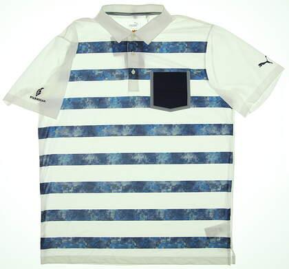 New W/ Logo Mens Puma Polo Large L White/Blue Stripe 574610-01 MSRP $69.99