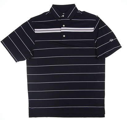 New W/ Logo Mens Footjoy Smooth Plque Chest Stripe Self Polo Medium M Navy Blue/White 21283 MSRP $69.99