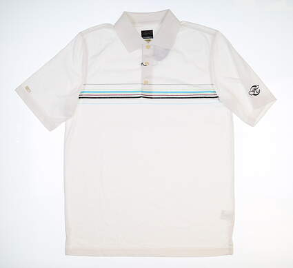 New W/ Logo Mens Greg Norman Polo Large L White Multi Stripe G7S6K488 MSRP $68.99