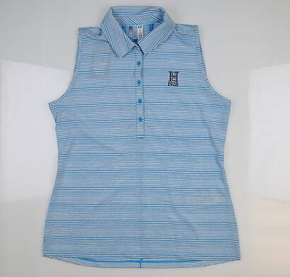 New W/ Logo Womens Under Armour Sleeveless Golf Polo Large L Blue UW0457 MSRP $68