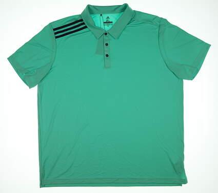 New Mens Adidas Essentials 3 Stripe Polo XX-Large XXL Green TM1374S8 MSRP $59.99