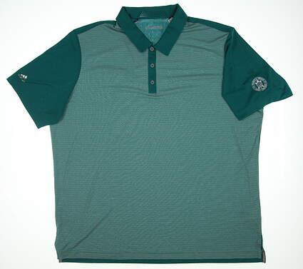 New W/ Logo Mens Adidas Polo XX-Large XXL Green/White TM3089S6 MSRP $74.99