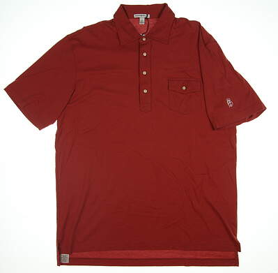 New W/ Logo Mens Peter Millar Golf Polo Large L Brick Red MF14K60 MSRP $75