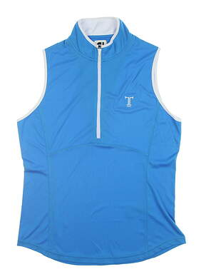 New W/ Logo Womens Footjoy Sleeveless Zip Polo Medium M Blue 22926 MSRP $75