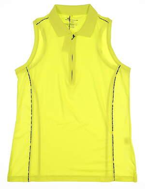 New Womens Peter Millar Sleeveless Golf Polo Large L Neon Yellow LS16EK03 MSRP $70
