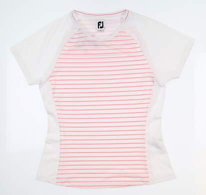 New Womens Footjoy T Shirt Medium M White/Light Pink Stripe 27449 MSRP $65