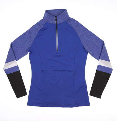 New Womens Footjoy 1/2 Zip Pullover W/ Engineered Sleeves X-Small XS Periwinkle Blue 27542 MSRP $84.99