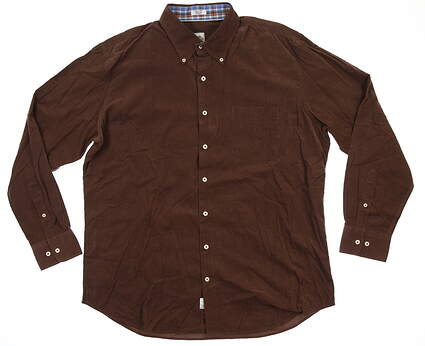New Mens Peter Millar Button Up X-Large XL Coco Brown MF15W65CBL MSRP $147.99