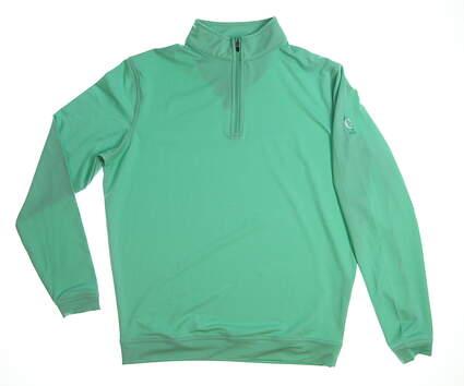 New with logo Womens Peter Millar 1/4 Zip Golf Pullover Medium M Green MS16EK40B MSRP $115