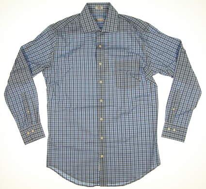 New Mens Peter Millar Long Sleeve Medium M Blue Plaid MSRP $125