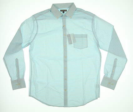 New Peter Millar Button Down Golf Long Sleeve Large L Blue/White Plaid MSRP $135