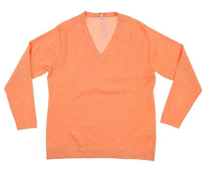 New Womens Peter Millar Golf Sweater Large L Orange LS17ES01 MSRP $165