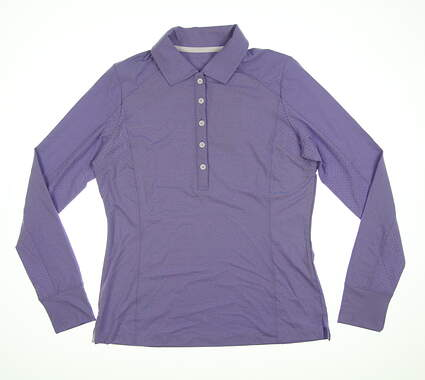 New Womens Zero Restriction Emma Long Sleeve Polo Small S Iris Purple 0590L MSRP $94.99