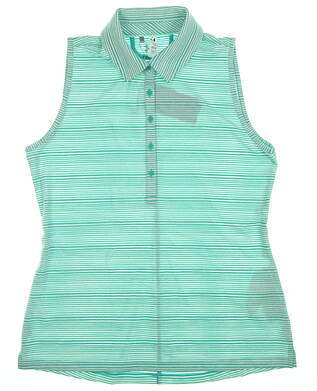 New Womens Under Armour Sleeveless Polo Large L Green/White Stripe MSRP $74.99
