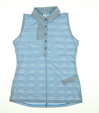 New Womens Under Armour Sleeveless Golf Polo Large L Blue/White UW0457 MSRP $75