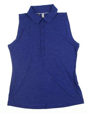 New Womens Under Armour Sleeveless Golf Polo Large L Blue UW0455 MSRP $75
