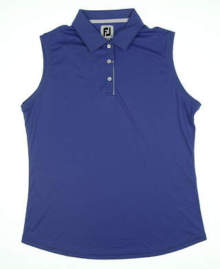 New Womens Footjoy Sleeveless Solid Interlock Sleeveless Polo Large L Periwinkle Blue 27445 MSRP $64.99