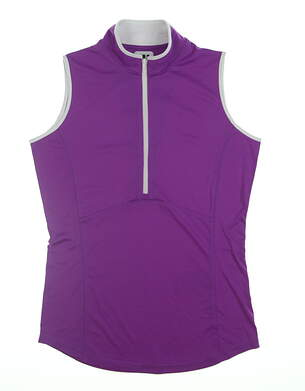 New Womens Footjoy Sleeveless Polo X-Small XS Purple/White MSRP $64.99