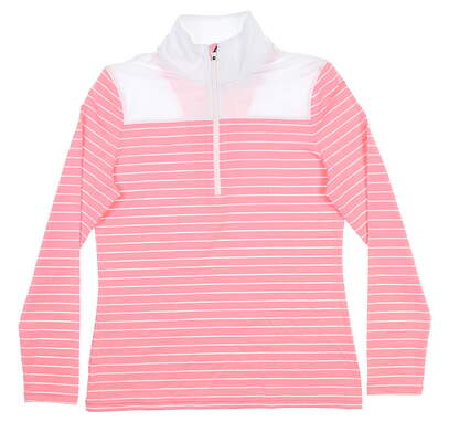 New Womens Footjoy 1/2 Zip Pullover Small S Light Pink/White Stripe 27540 MSRP $144.99