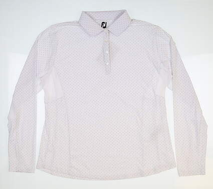 New Womens Footjoy Dot Print Long Sleeve Polo X-Large XL White 27547