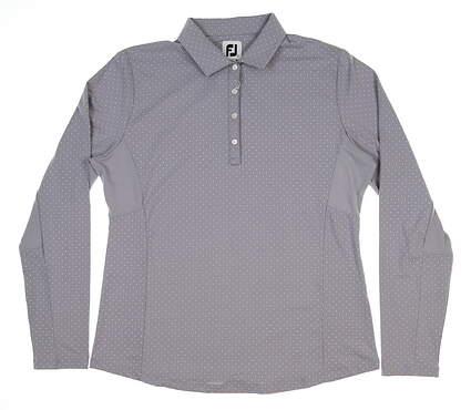 New Womens Footjoy Dot Print Long Sleeve Polo Large L Gray 27549