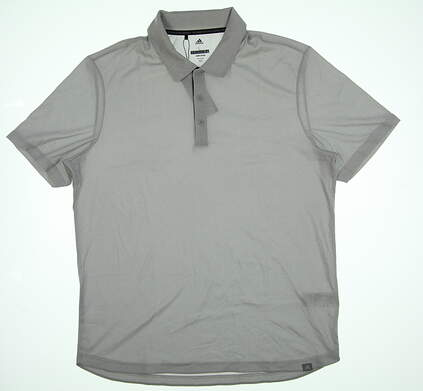 New Mens Adidas Polo Large L Light Grey TM1721S8 MSRP $74.99