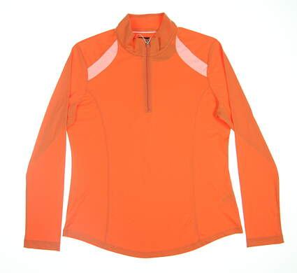 New Womens Greg Norman 1/2 Zip Pullover Large L Orange G2S5K702 MSRP $79