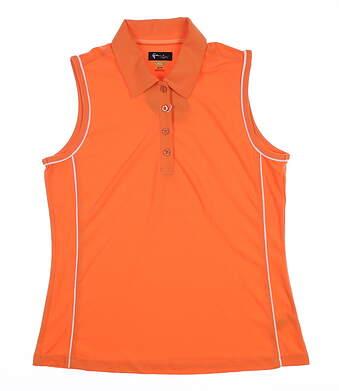New Womens Greg Norman Sleeveless Golf Polo Medium M Orange G2S5K693 MSRP $65