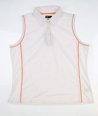 New Mens Greg Norman Sleeveless Polo X-Large XL White/Orange G2S5K693 MSRP $64.99