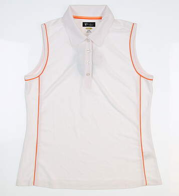 New Womens Greg Norman Sleeveless Fashion 1 Polo Medium M White/Orange G2S5K693 MSRP $64.99