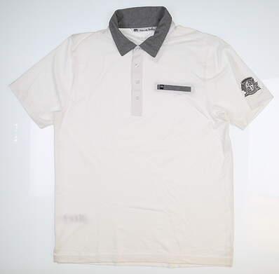 New W/ Logo Mens Travis Mathew Polo Large L White 1MJ017 MSRP $78