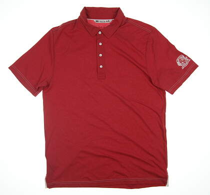 New W/ Logo Mens Travis Mathew Golf Polo Large L Red 1MH190 MSRP $78