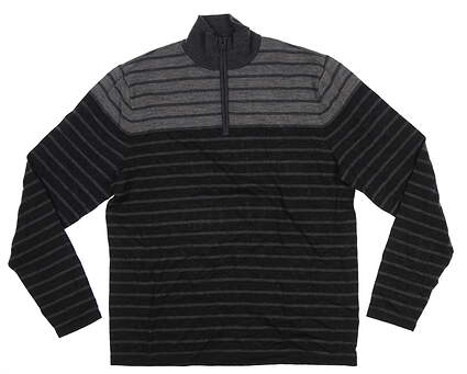 New Mens Ralph Lauren RLX Cold Weather 1/4 Zip Sweater Large L Gray/Charcoal 0117397LHZM MSRP $224.99