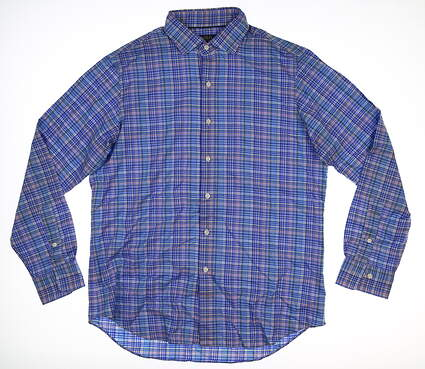 New Mens Ralph Lauren Button Up Large L Blue Multi Plaid MSRP $124.99