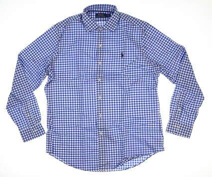 New Mens Ralph Lauren Button Up Large L Blue/White Gingham MSRP $124.99