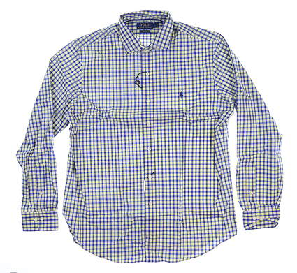 New Mens Ralph Lauren Button Up Large L Blue/Yellow Plaid MSRP $124.99