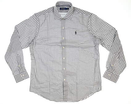 New Mens Ralph Lauren Button Up Large L Gray/White Check MSRP $124.99