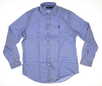 New Mens Ralph Lauren Button Up X-Large XL Blue/White Gingham MSRP $124.99