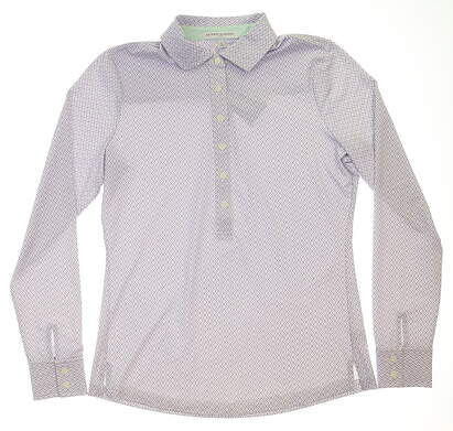 New Womens Fairway & Greene Aryn Golf Long Sleeve Polo Small S Blue MSRP $115 H12227