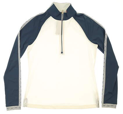 New Womens Fairway & Greene Willa Mock Neck 1/2 Zip Golf Pullover X-Small XS White MSRP $125 G12229