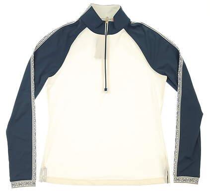 New Womens Fairway & Greene Willa Mock Neck 1/2 Zip Golf Pullover Small S White MSRP $125 G12229